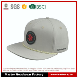 Grey Canvas Edg Patch Snapback Cap with Rope