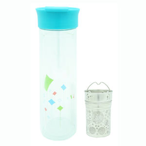 Double Wall Glass Bottle with Strainer 380ml pictures & photos