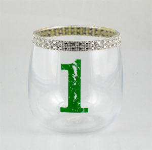 Candle Holder with Colorful Diamonds and Number pictures & photos