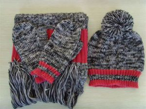 Winter Warm Knitted Cap, Scarf, Gloves Set (KS-2113) pictures & photos