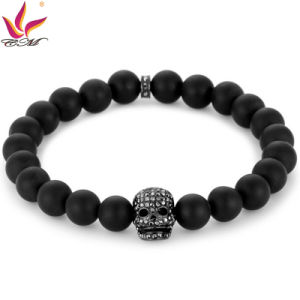 SMB007 Classical Black Color Agate Beads with Skull Bracelet Stone