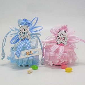 China Personalized Non Woven Baby Kids Birthday Chocolate Candy Bag Creative Ribbon Bomboniere Packaging