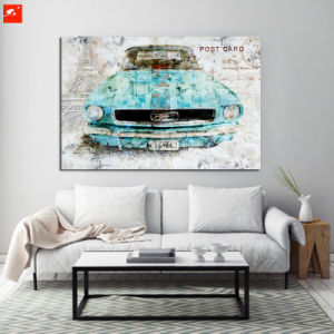 Ancient Car Wall Art Painting Print on Canvas