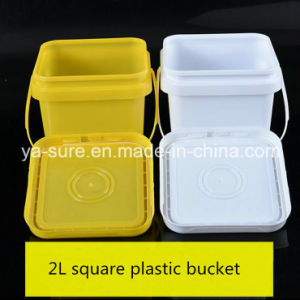 Food Grade 2L Square Plastic Packaging Bucket with Handle