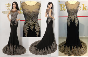 Embroidery Laces Luxury Ladies Party Wedding Evening Fashion Women Dress