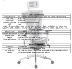 Ergonomic Mesh Office Chair with Height Adjustable Back Frame in White pictures & photos