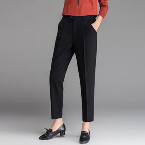 Fashion Design Black Office Casual Ninth Pants For Womens