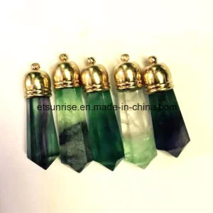 Fashion Semi Precious Gemsone Natural Crystal Fluorite Gold Pendant pictures & photos