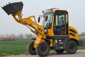 0.8 Ton Mini Wheel Loader with Hook, Pallet Fork, Grasping for Wood, Grapple Bucket