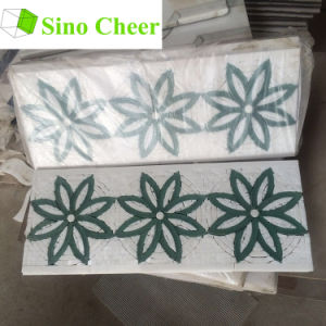Glass Mix Stone Mosaic Waterjet White Marble Tiles Design Floor Pattern pictures & photos