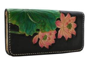 Western Elegant Floral Water Lily Cowhide Leather Bag with Zipper Seal Women Purse Black Wallet