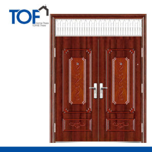 Decorated High Quality Steel Security Double Swing Exterior Door