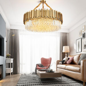 Modern American Euroueap Home Decoration Luxury Crystal Stainless Steel Brass Copper Iron Metal Hanging Pendant Lights Chandelier