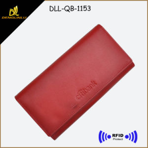 RFID Functional Blocking High-End Market Genuine Leather Lady Wallet with Customized Embossed Logo