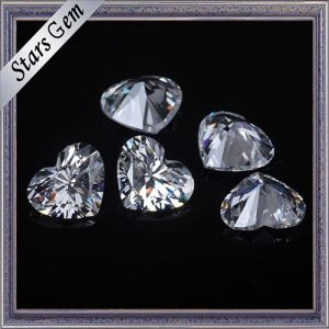 6X6mm Heart Shape Brilliant Cut White Color Cubic Zirconia Stones for Fashion Jewelry pictures & photos