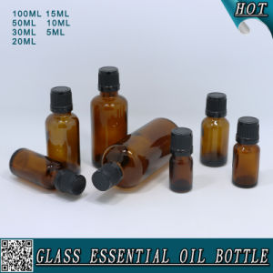 Whole Set Amber Glass Essential Oil Bottle with Child Proof Black Plastic Cap pictures & photos