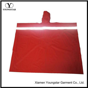 Red PVC Waterproof Reflective Reusable Rain Ponchos Raincoat pictures & photos
