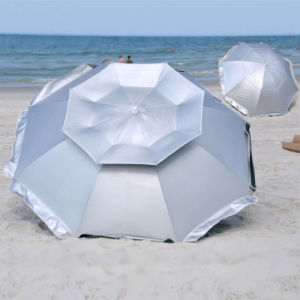 8 FT Solar Guard Deluxe Dual Canopy Beach Umbrella Upf 150+ Ultra Cool