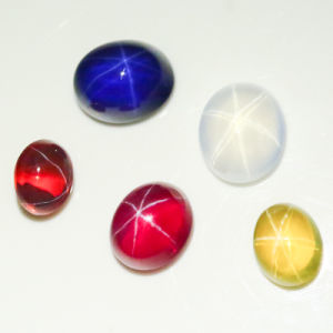 Oval Cabochon Cut Lab Created Synthetic Yellow Star Curundum Ruby pictures & photos