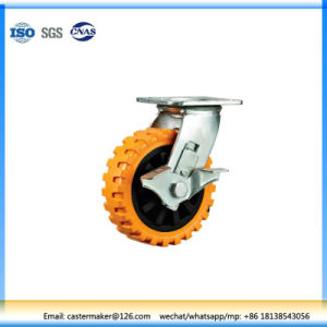 Side Brake Caster with Swivel Orange PU Wheel pictures & photos