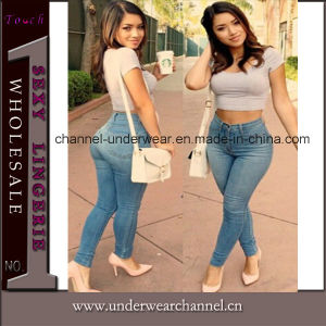 Lady Light Blue Classic High Waist Skinny Jeans (T78614) pictures & photos