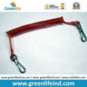 Red Safety Wire Coil Retractable Device for Attaching Valuable Merchandises