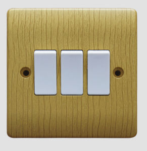 V306 10AMP 3G 2W Switch Plate, Wood Grain pictures & photos