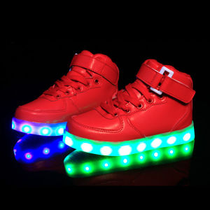 High Top USB Charging LED Shoes Flashing Sneakers pictures & photos