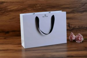 Pure White Gray Paper Bag with Black Ribbon