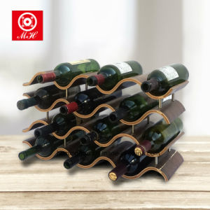 Top Sell Wooden Holder Wavy Red Wine Display Shelf Rack