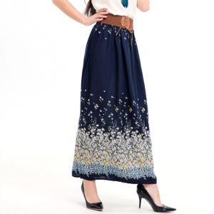 Fashion Women Leisure Chiffon Printed Floral Skirt Dress pictures & photos