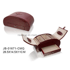 Fashion Design Classic Red Croco Leather Oval Shape Jewelry Box