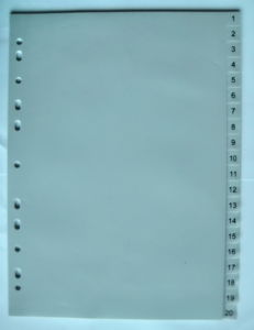 20 Pages Grey Color PP Index Divider With Number Printed (BJ-9026)