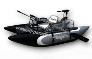 Black Single Kayak PVC Inflatable Fishing Boat with Electric Motor