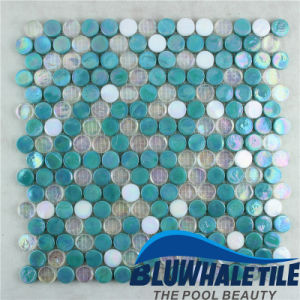 Penny Round Glass Mosaic Tile for Bath Backsplash Pool Design (BGZ004)