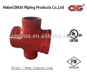 FM /UL Approved Grooved /Threaded Reducing Cross Grooved Ductile Iron Pipe Fitting pictures & photos