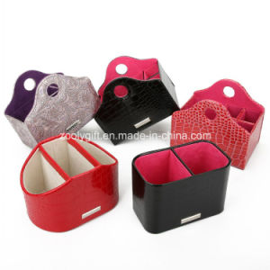 Multifunctional Leather Desk Organizer Holder Promotional Executive PU Leather Desktop Pen Holder pictures & photos