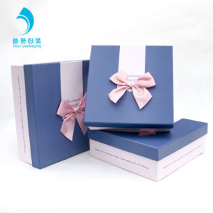 Bespoke Size Rigid Card Paper Lid Off Setup Gift Boxes With Ribbon Bow Decoration