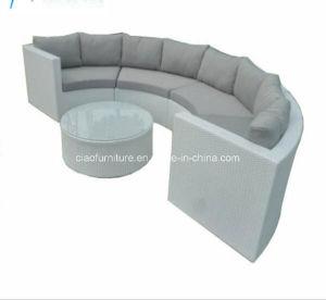 China Wicker Outdoor Furniture Synthetic Garden Half Round Rattan Sofa Set Patio Hot