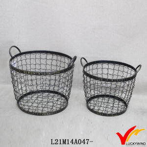 Round Set 2 Handmade Rustic Decorative Wire Mesh Basket pictures & photos