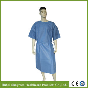 Disposable SMS Blue Patient Gown with Short Sleeves, Waist Ties at Side pictures & photos