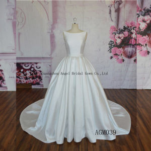 China Puffy Ball Gown Satin Round Neck Simple Wedding Dress China Wedding Dress And Wedding Dress Supplier Price