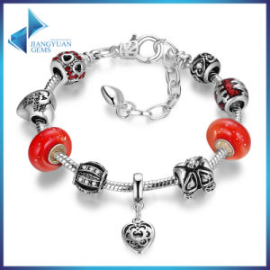 Vintage Love Heart Pendant with Red Murano Glass Beads Bracelets & Bangles for Women Jewelry pictures & photos