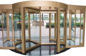 Automatic Revolving Door, 3 Wings, Lenze Motor, Disabled and Emergency Stop Switch, Aluminum Frame Stainless Steel Cladding pictures & photos