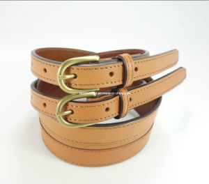 Elegant Women Leather Belt with Nickel-Free Buckle