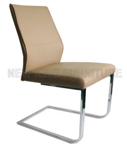 Modern Luxurious Fashion Chrome Steel Foot PU Leather Dining Chair (NK-DC063)