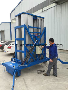 10m Single Aluminum Mast Lift Man Lift Platform Hydraulic Vertical Platform Lift pictures & photos