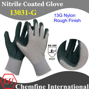 13G Grey Nylon Knitted Glove with Black Nitrile Rough Coating pictures & photos
