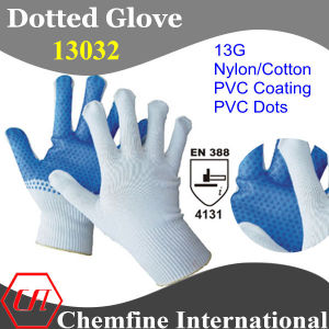 13G White Nylon/Cotton Knitted Glove with Blue PVC Coating & Dots/ En388: 4131 pictures & photos