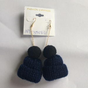 Small Cotton Thread Hat Blue Earring Fashion Jewelry